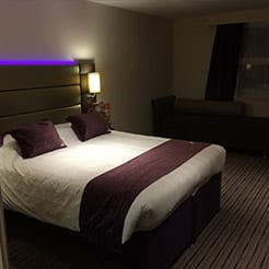 Image of a hotel bed.